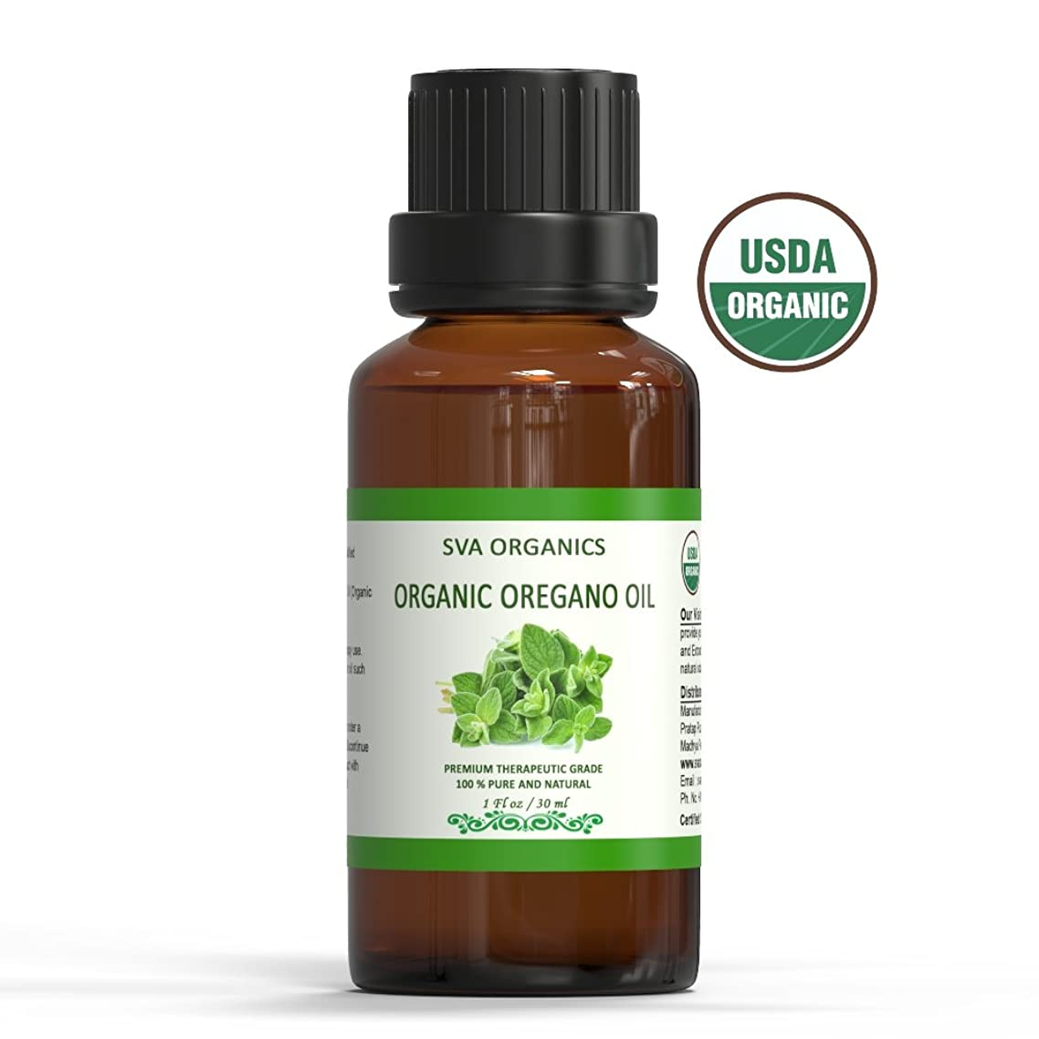Organic Oregano Oil USDA Certified (30 ml)- 100% Pure & Natural, Steam Distilled | for Skin,Hair,Body,Face by SVA Organics