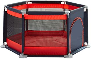 LOVE BABY Lovebaby Playpen 6-Panel Play Yard Baby Children s Game Fence Toddler Crawling Mat Indoor Kid s Safety Activity Center  Color Red