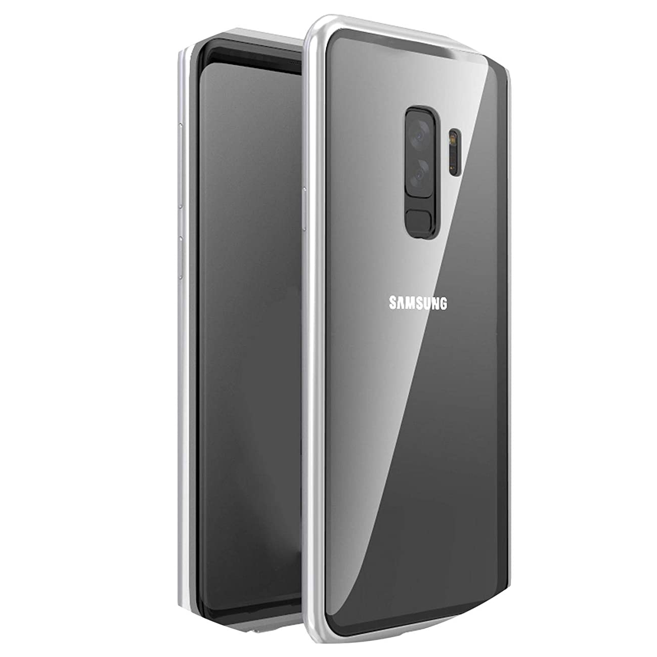 Adsorption Phone Case for Samsung Galaxy S9 S8 Plus Note 9 8 Metal Magnet Screen Protector Tempered Glass Flip Cover,Silver,for Galaxy S8 Plus,No Front Glass