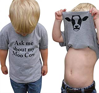 KIDDAD Toddler Kids Baby Boys Ask me About My moo Cow Funny T-Shirt Clothes Cow Inside Short Sleeve Tops Tees