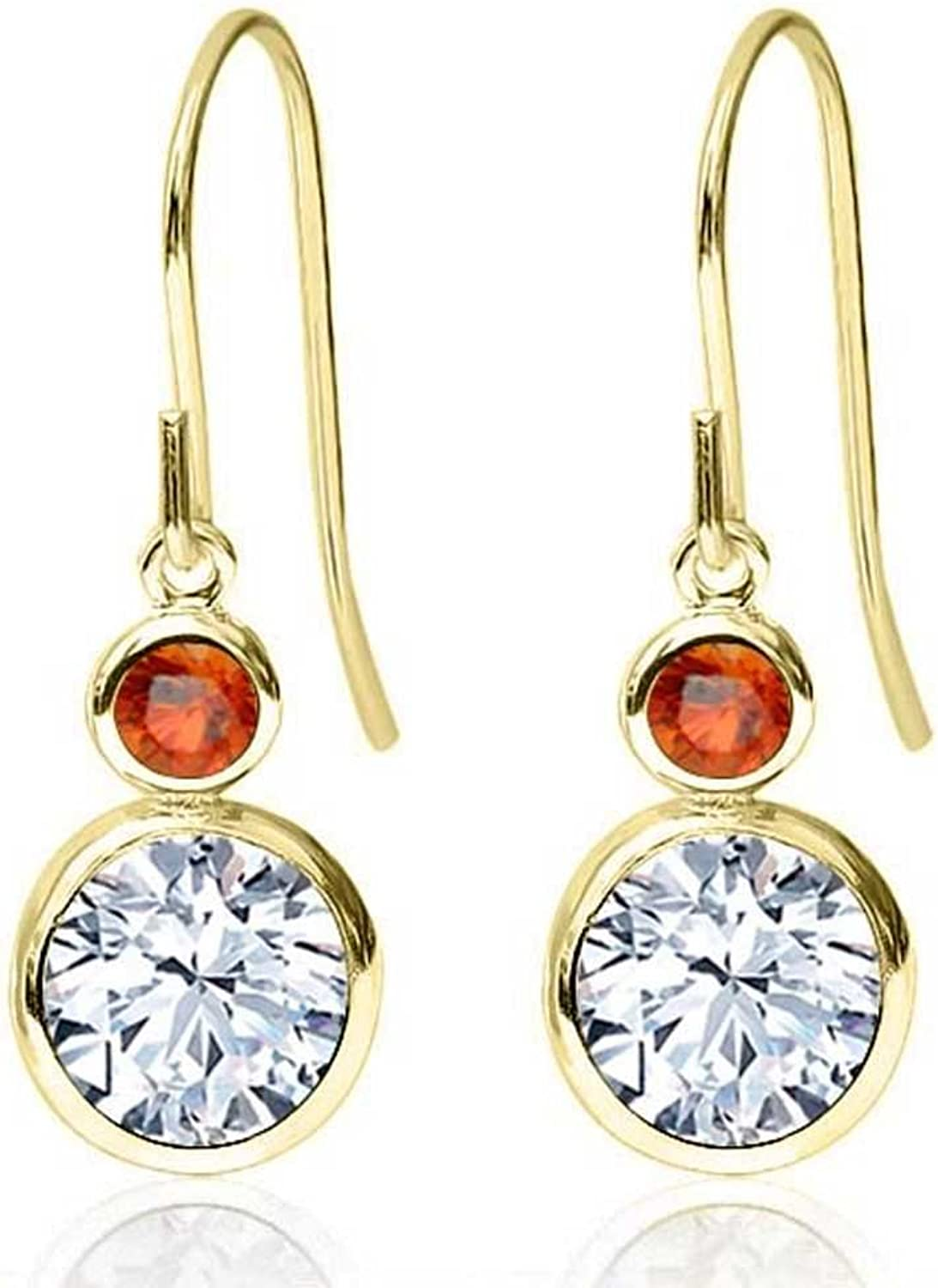 1.94 Ct Round White Zirconia orange Sapphire 14K Yellow gold Earrings