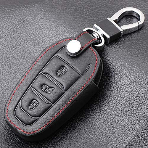 USNASLM Funda de piel negra para llave de coche Peugeot 308 408 508 2008 3008 4008 5008 3 botones Smart Remote Key case