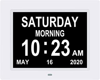 LaMi 8 Inch Digital Calendar Day Alarm Clock -8 Alarm Reminders,AM/PM Function,Day Clock with Extra Large Display Helps wi...