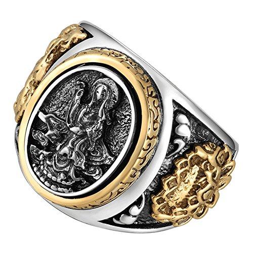 ZABRA Sterling Silver Buddha Ring with Lotus, Men Women Vintage Rings, Signet Ring (13)