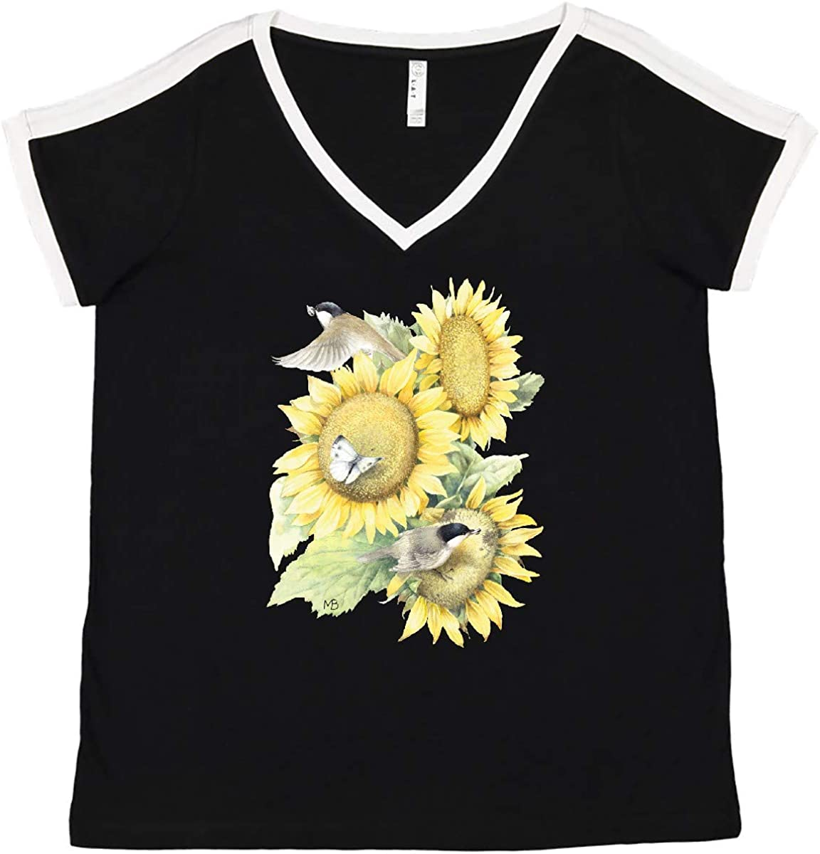 inktastic Sunflowers Trust Max 51% OFF and Birds Women's V-Neck Marjol Size - Plus