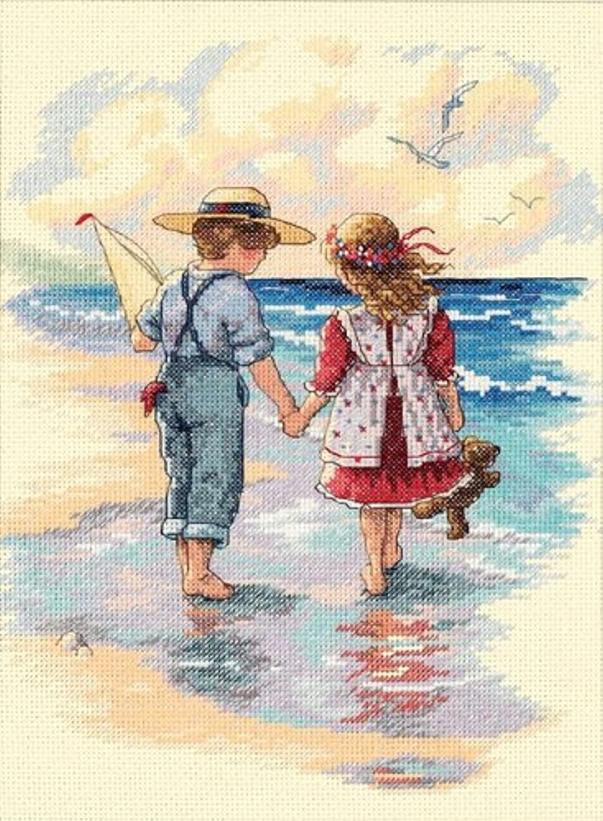 Dimensions 'Holding Hands' Counted Cross Stitch Kit, 14 Count ivory Aida, 9'' x 12'' cttgwldiqqguymn3