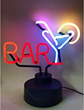 Bar with Martini Real Glass (NOT LED) Neon Light Signs with Holder Base, Neon Art Table Desk Sign for Room Party Birthday ...