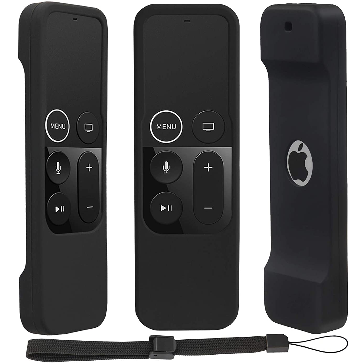 Remote Case for Apple TV 4K/4th Gen, Lightweight Anti-Slip & Secure Protective Cover for Apple TV 4K Siri Remote Controller with Hooks - Black