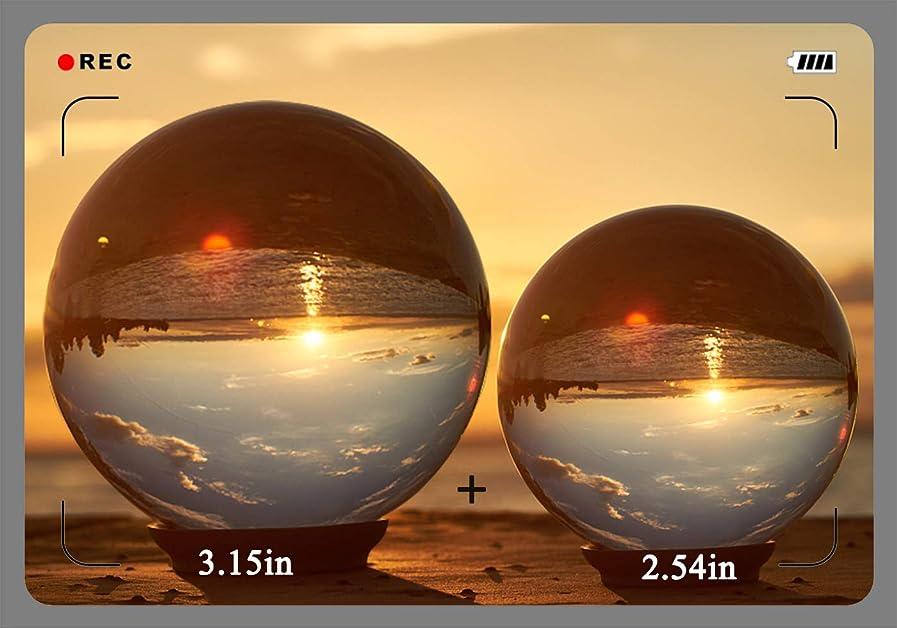 故意の地中海フロンティアクリスタルフレーム付きフォトマジックレンズボール、80 mm&60 mm 2つのクリスタルボールK9クリスタルSuncatchersボール、マイクロファイバーバッグデコレーション、フォトデコレーションアクセサリー