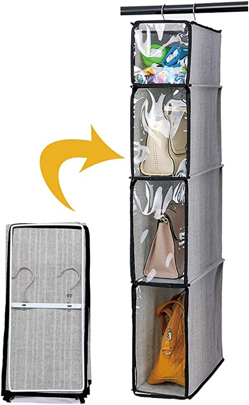 Kntiwiwo Hanging Handbag Organizer Purse Storage Breathable Soft Foldable With Clear Dust Proof Cover Hanging Cabinet Shelves For College Student Dormitary Living Room 1Pcs Grey