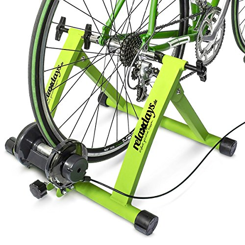 Relaxdays 10018322_53, Trainer Pieghevole Bicicletta 6 velocità, Cerchi da 26-28 Unisex Adulto, Verde/Blu