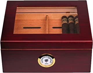 Mantello Glass-Top Cigar Humidor Humidifier Box with Hygrometer and Cedar Tray –..