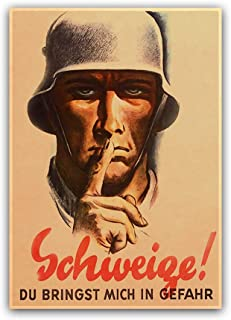 Silence! You put me in danger WWII German History Art Propaganda Poster