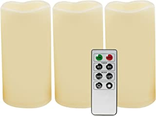 """iZAN Outdoor Flameless LED Candles with Remote & Timer - Long Lasting Waterproof Flickering Battery Operated Electric Pillar Candles Halloween Christmas Home Decor 3""""x6"""" 3-Pack"""