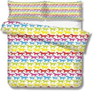 Duvet Cover Rainbow Colors Giddy Up Pony Animal Art Retro Design Pattern Abstract Wild and Free 100% Cotton Bedding, 1 Quilt Cover and 2 Pillowcases, Zip Closure 68x86 inch