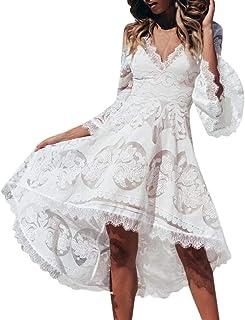 c52dbbd002 Oliviavane Style Champetre Dress Robe Soie Fleurie Blanche Mode Mini Belle  Vintage Retro Plage Dentelle Élégante