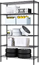6 Tier Wire Shelving Unit Wire Shelves NSF Heavy Duty Height Adjustable Storage Wire Shelf Shelving Rack with Feet Leveler Garage Rack Kitchen Rack Office Rack Commercial Shelving - Black - 42x16x72