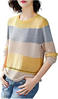 Women Knitted Sweater Tops, Ladies O-neck Plaid Printed Long Sleeve T-shirt Pullover Top