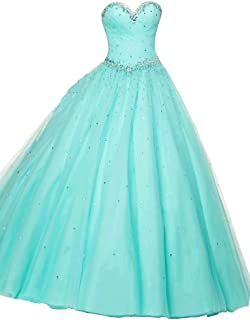 Women's A-Line Sweetheart Floor-Length Lace-up Tulle Quinceanera Dresses
