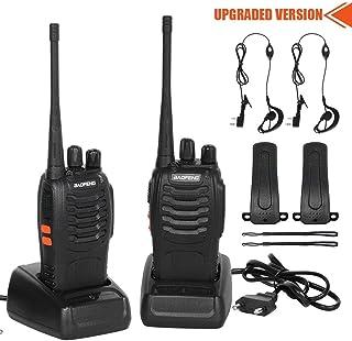 CACAGOO Walkie Talkie Recargable 16 Canales 1500mah CTCSS DCS 6KM, Talkie walkie UHF con el Auricular Incorporado Antorcha de LED (2 PCS)