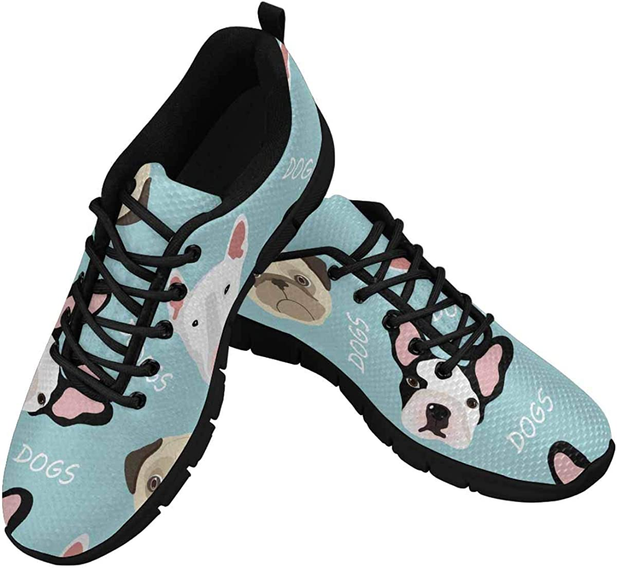 InterestPrint Dogs of Pug Breed, French Bulldog Women's Breathable Comfort Mesh Fashion Sneakers