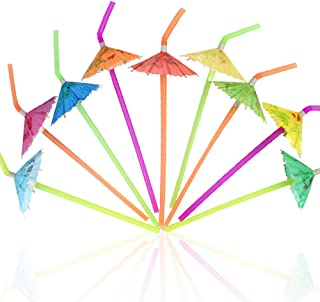 Tomnk 120pcs Umbrella Disposable Bendy Drinking Straws for Luau Hawaii Beach Party