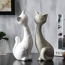 AXIANNV Estatua Figuras de los Amantes del Gato de Porcelana Cerámica Hecha a Mano Kitty Pareja Estatuas Decoración Adorno de Arte y artesanía -Blanco y Gris-M
