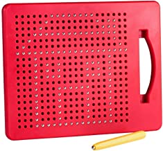 Playmags Magna Drawing Board – Fun Design & Draw Travel Tablet w/ 380 Built-in Magnetic Balls, Matching Stylus Pen & Easy Carry Handle; Clean, Creative Fun & STEM Education for Toddlers Age 3+