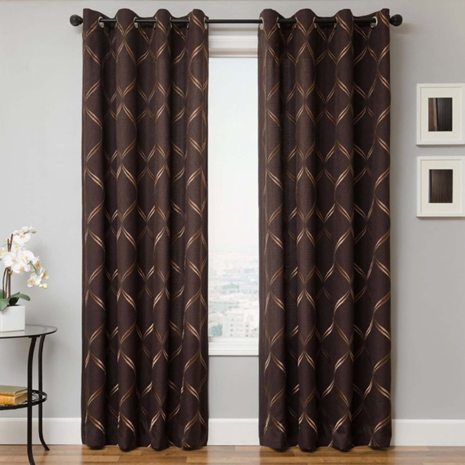 Softline Ransom Series Embroidered Window Panel Treatment Curtain Drape with Modern Grommet Top and Lush Pattern in Chocolate, Chocolate, 54  x 84