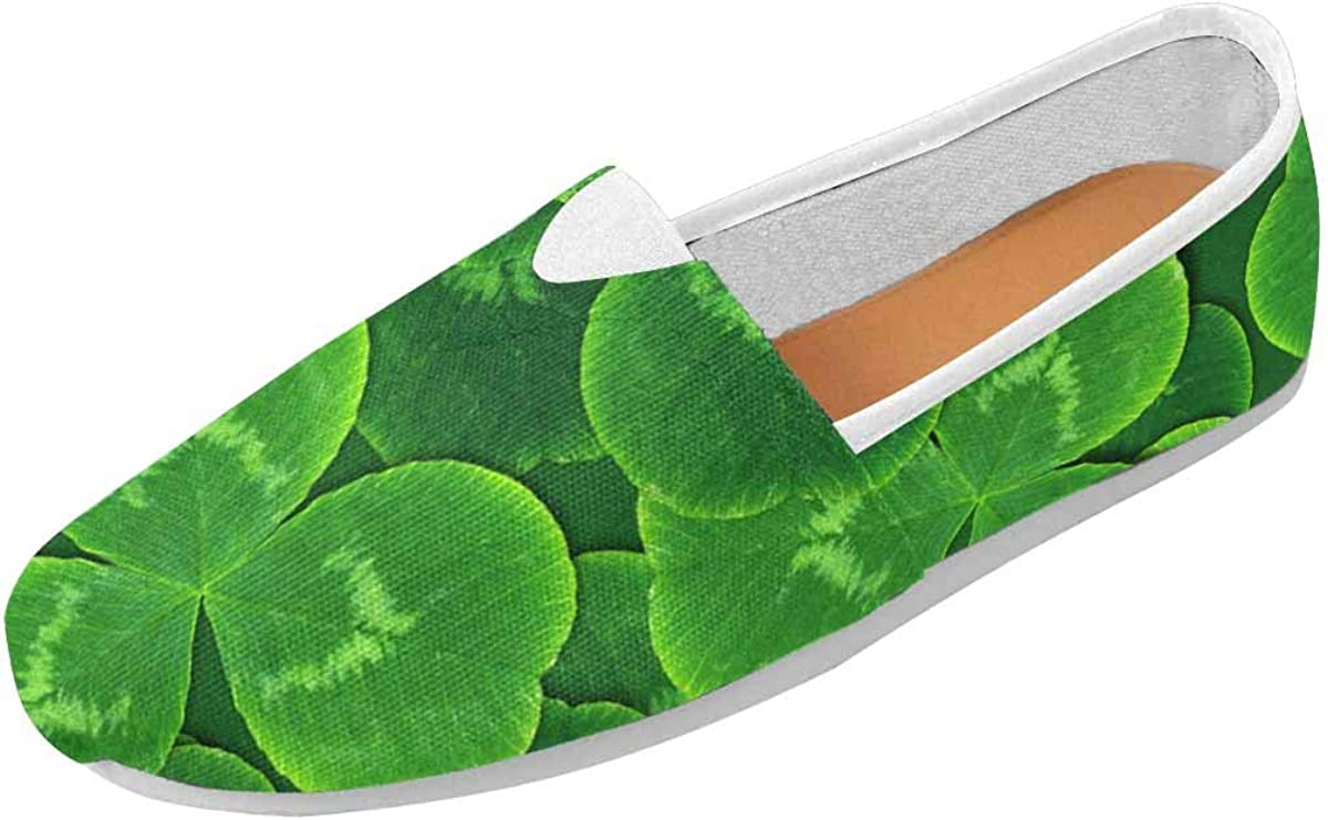 InterestPrint Green Clover Leaves Women's Natural Comfort Walking Flat Loafers
