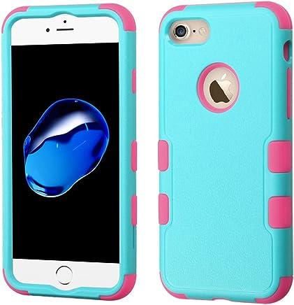 Funda Case para iPhone 7 Doble Protector de Uso Rudo Funda Anti Impactos Resistente a Caídas (Menta con Rosa)