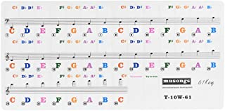 Transparent Removable Piano Keyboard Stickers for 61-key Keyboards for Kids Beginners Piano Practice