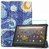 Brifu Compatibile con Amazon Fire HD 10 2021/Fire HD 10 Plus 2021(Tablet 11. Generation) (10.0' pollice) Cover Protettiva PU,Cielo stellato + 1x pellicola protettiva in vetro temperato