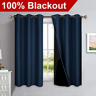 NICETOWN 100% Blackout Curtain Panels, Thermal Insulated Black Liner Curtains for Nursery Room, Noise Reducing and Heat Blocking Drapes for Windows (Set of 2, Navy Blue, 42