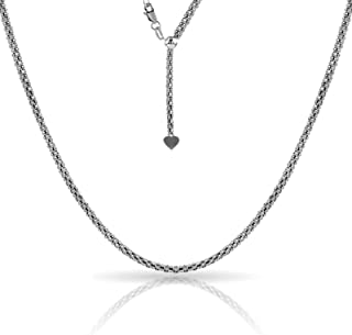 Sterling Silver 1.5MM Adjustable Popcorn Coreana Bolo Chain for Women- Sterling Silver Adjustable Necklace, Adjustable Bolo Necklace