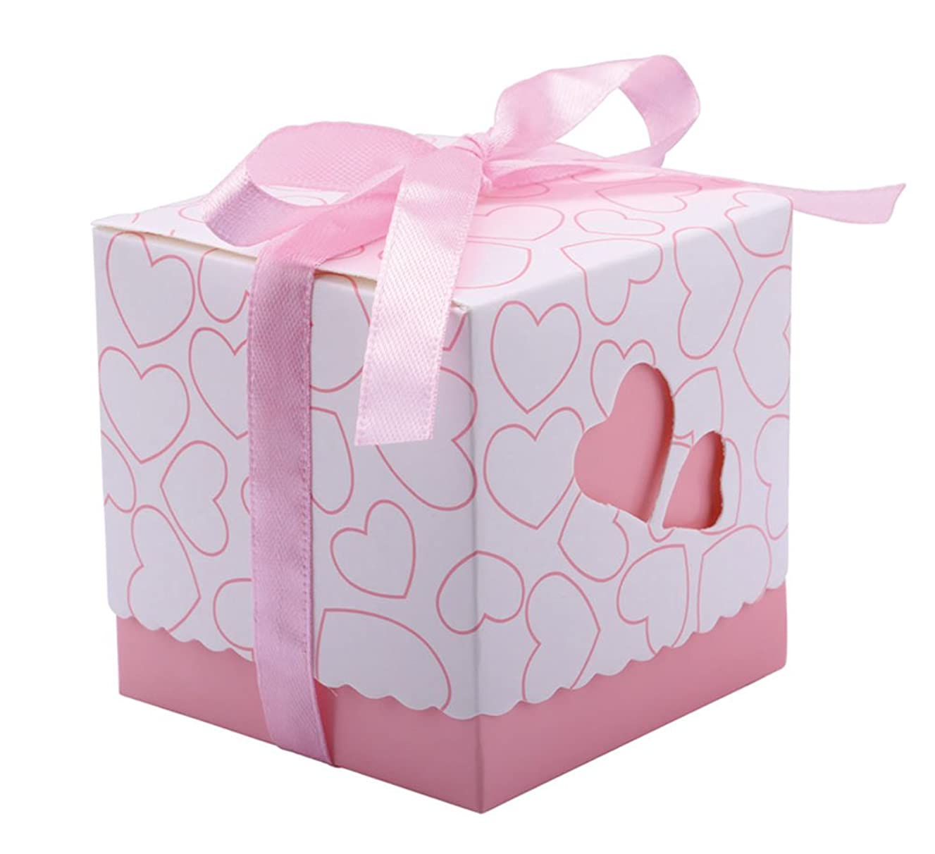 DriewWedding Set of 50 Wedding Bridal Favor Gift Candy Boxes Case, Hollow Heart Shape Wrap Boxs Bag with Ribbon Party Table Decor Kit Treat Box Chocolate Candy Wrappers Holders (Pink/ 2