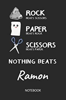 Nothing Beats Ramon - Notebook: Rock Paper Scissors Game Pun - Blank Ruled Kawaii Personalized & Customized Name Notebook ...