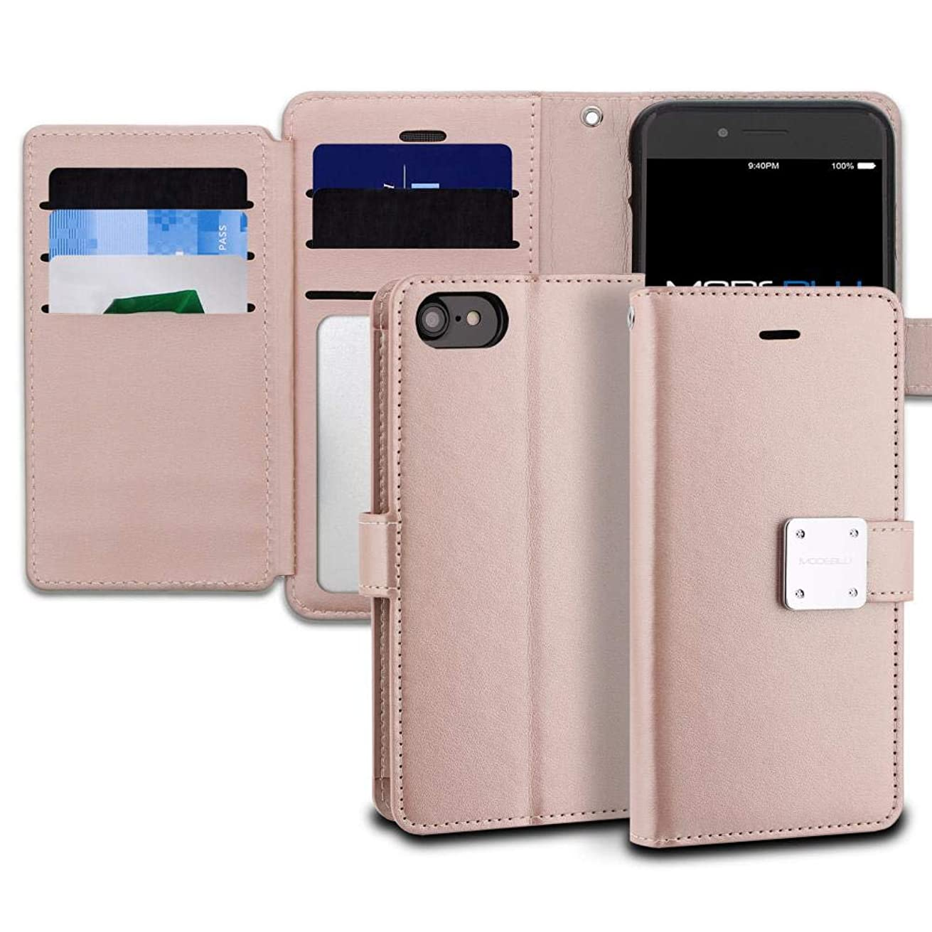 iPhone 8 Case, ModeBlu [Mode Diary Series] [Rose Gold] Wallet Case ID Credit Card Cash 6-Slots Premium Synthetic Leather [Stand View] for Apple iPhone 8 (2017)