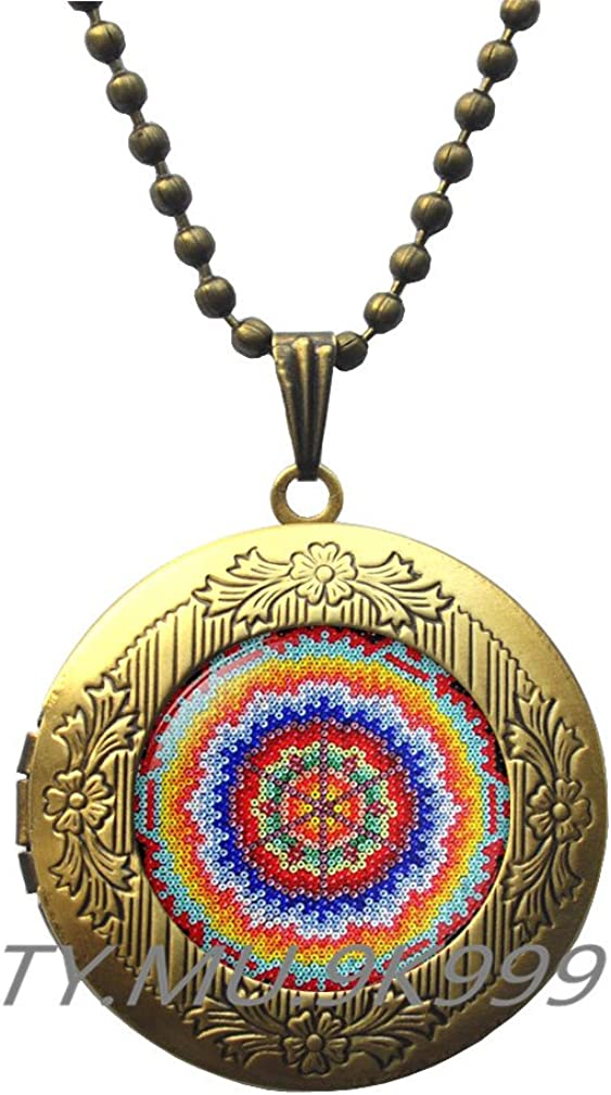 Yao0dianxku Mexican Ornamental,Mexican Art Locket Pendant, Mexican Folk Art, Mexican Jewelry, Mexican Jewelry,Boho Ethnic Locket Necklace.Y214