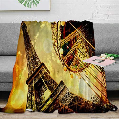 LILANG Manta cálida Torre Noria Manta de Tiro Manta de Microfibra cálida Manta de Franela Mantas para Camas 80x120cm