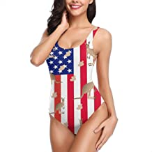 Kangaroo in Us Flag Women's One Piece Swimsuits Sexy Low Back Print Bathing Suit Swimwear Beachwear