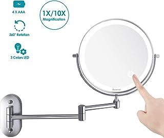 Auxmir Espejo Maquillaje con Luz LED Aumento 1X/10X Espejo Cosmético Iluminoso de Doble Cara con Pilas, 360 Rotación, Luces Ajustables Extensible de Pared para Baño, Tocador, Hotel, Plata
