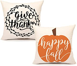 4TH Emotion Give Thanks Happy Fall Throw Pillow Cover Farmhouse Pumpkin Leaves Cushion Case for Sofa Couch 18 x 18 Inches Cotton Linen Set of 2