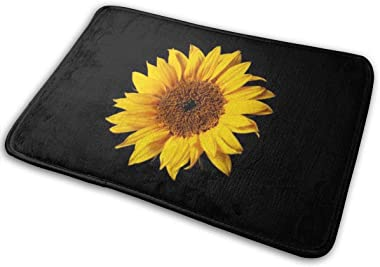 HUNANing Bathroom Rug Mat (30 X 18 Inch) Sunflower Yellow on Black Sun Flowers,Extra Soft and Absorbent Rugs,Machine Wash/Dry,Floor Mats for Tub, Shower and Bath Room