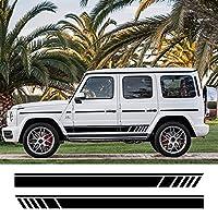 NUICHWA 2 個車のサイドレーシングストライプ敷居スカートビニールデカールステッカー、メルセデスベンツ G55 G63 AMG W463 G500 クラス G350D SUV