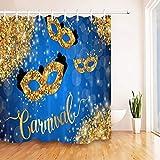Glitter Gold Karneval Duschvorhang wasserdichtes Gewebe Home Decor Badematte Haken