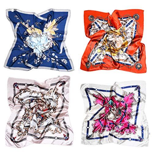 VBIGER Halstuch Damen Groß 90 x 90 cm Satin Bandana Kopftuch Elegante Schal Bunte- Einheitsgröße, Farbe 5 (4 Stück)