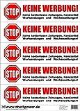 Keine Werbung! 5 weiße Briefkastenaufkleber - Keine kostenlosen Zeitungen, Handzettel, Wurfsendungen und Wochenzeitungen!