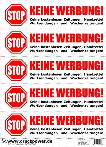INDIGOS UG Briefkasten Aufkleber - 5 Aufkleber - Keine Werbung! - Keine kostenlosen Zeitungen, Handzettel, Wurfsendungen und Wochenzeitungen! - selbstklebend
