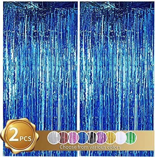 Cortinas de Oropel 2Pcs Azul Metálica Cortina de Borlas de Fondo Cortinas Fiesta Brillante Aluminio Flecos Cortinas Para Decoración Pared Fiestas Cumpleaños Navidad Boda Graduación(1m x 2m)